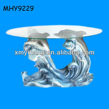 blue sea double dolphin theme luxury coffee tables