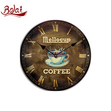 Fashion design gold brown color cup coffee homely clock gift item for home