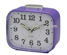 2017 New popular size ABS /plastic Purple Bell Desk Table alarm clock