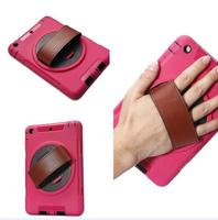 For iPad mini 4 Case with Strap, 360 Degree Rotation Protective Handheld Case with Leather Hand Strap and Built-in Stand
