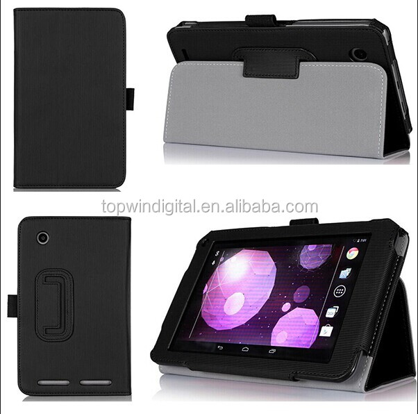 Vertical Stripe Holder Leather Flip Smart Cover Case For HP Slate 7 Plus 4200