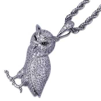 Hiphop jewelry paved zircon owl pendant necklace men
