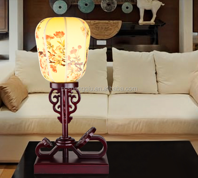 Antique Chinese style lamp solid wood craft wishful decoration bedroom study desk classical nostalgia