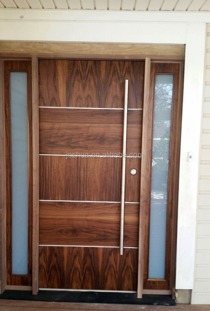 Exterior Doors Product : Beautiful modern walnut front door exterior with
