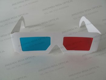 Hot sell! custom paper red cyan anaglyph 3d glasses