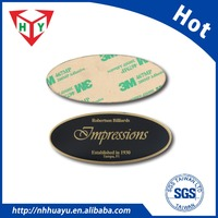 custom metal nameplate with 3M double-sided adhesive