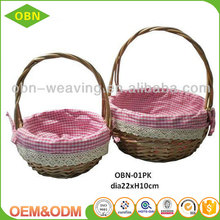 Hand woven set 3 fancy small empty wicker basket for gift