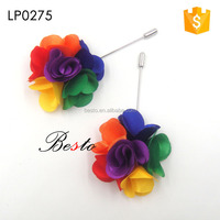 Wholesale 9cm multicolor satin fabric flower lapel pin making supplies for blazer