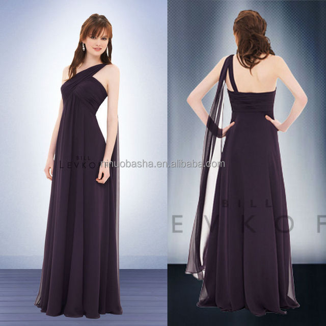 Hot Sale 2014 Plum Empire Chiffon Bridesmaid Dress One-Shoulder Full-length Criss-Cross Pleats Long Prom Gown With Ribbon NB0725