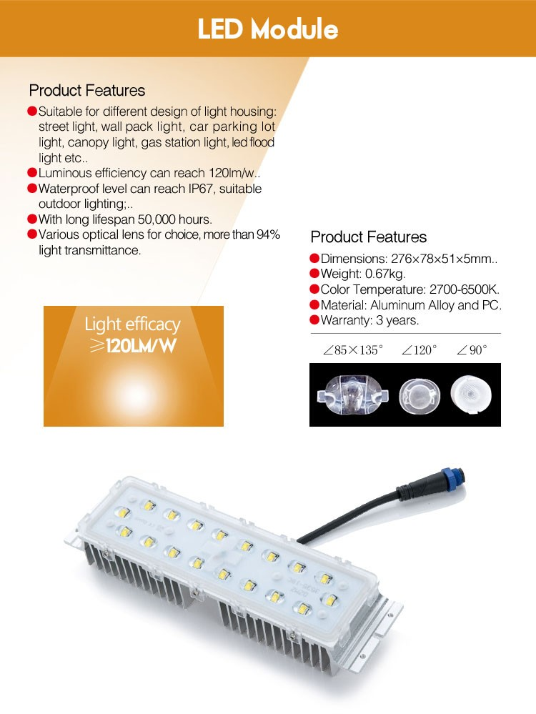 2017 hotsatles in USA high efficiency 2/3/4 block parallel connector led module DC24V40W for street light