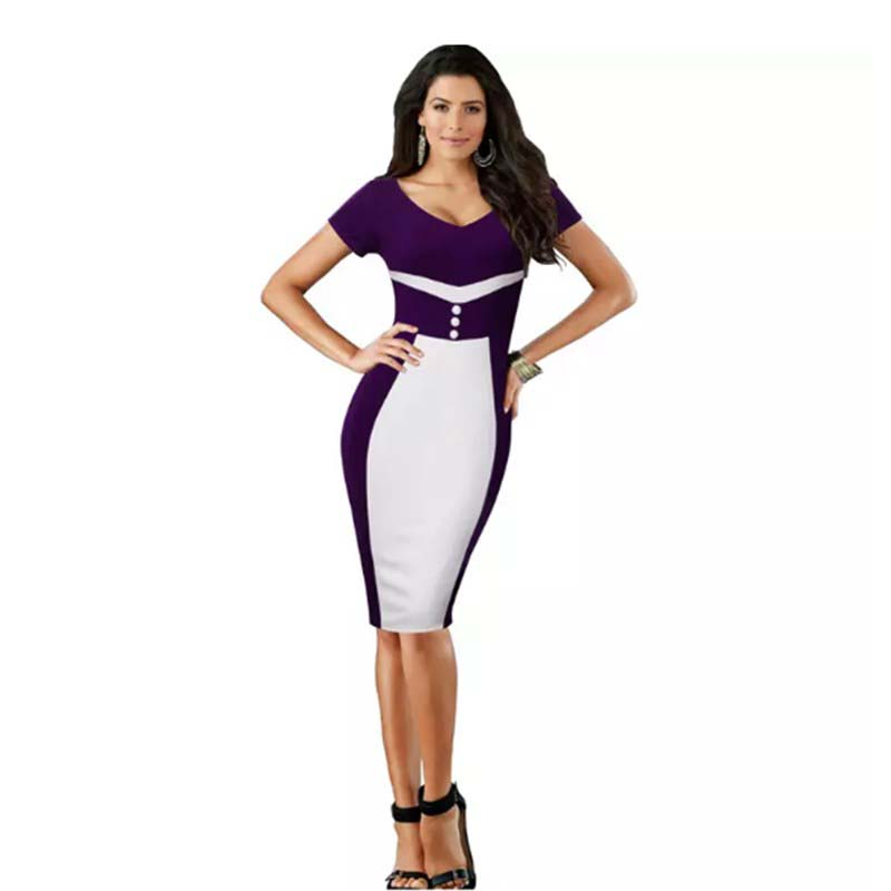 Best selling latest elegant short sleeve knee length casual wear straight dress for office