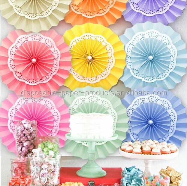 Lace Paper Doilies Paper Rosettes Pinwheel Backdrop Hanging Paper Fans Hanging Decoration BIRTHDAY PARTY WEDDING KIDS CHILDRE