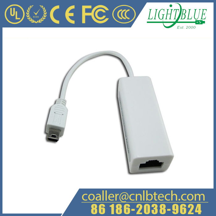Mini USB Wiring Adapter B Header Connector to Cat5e/RJ45/RCA Cable Socket for Cabling Ethernet