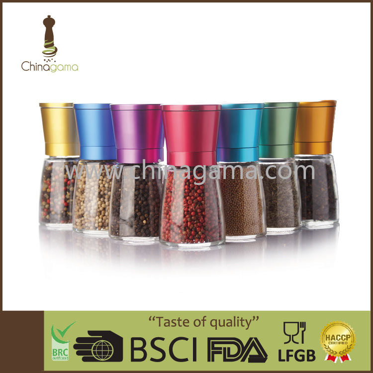 aluminum cap ceramic grinder glass jar 7 in 1 colorful spice grinder herb mill set