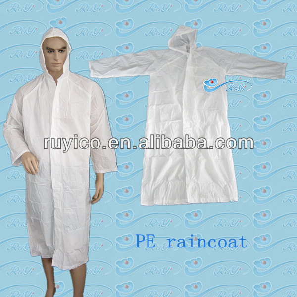 disposable PE/plastic rain coat with hood and buttons