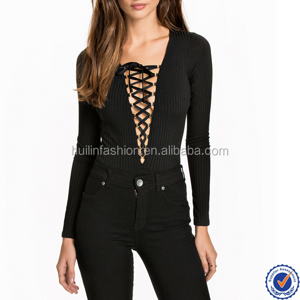 women fashion bodysuits knit black rib long sleeve tight bodysuit with details at chest