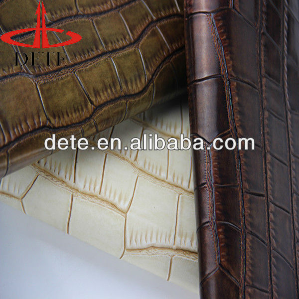 new designed crocodile embossed patterns artificial leather for leather products in any color