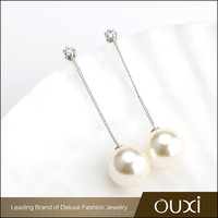 OUXI 2016 korean style top quality long chain latest design of wedding pearl earrings 21394