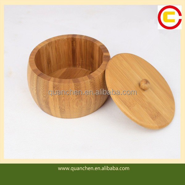 Creative round bamboo salt box with lid