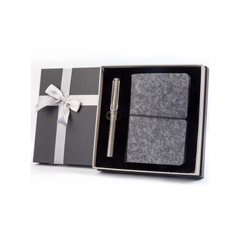 Hot Sale Custom Logo Elastic Band Loose Leaf Notebook And Fountain Gift Pen Set With Box