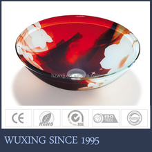 Hangzhou sell well washbasin tempered glass countertop sink round design beauty wash basin