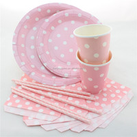 Wedding DecorationTableware Paper Plate Cup Straw Napkins Bag