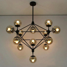 Antique Black Iron soot glass magic bean 15 lights pendant lamp for shop/coffee/hotel