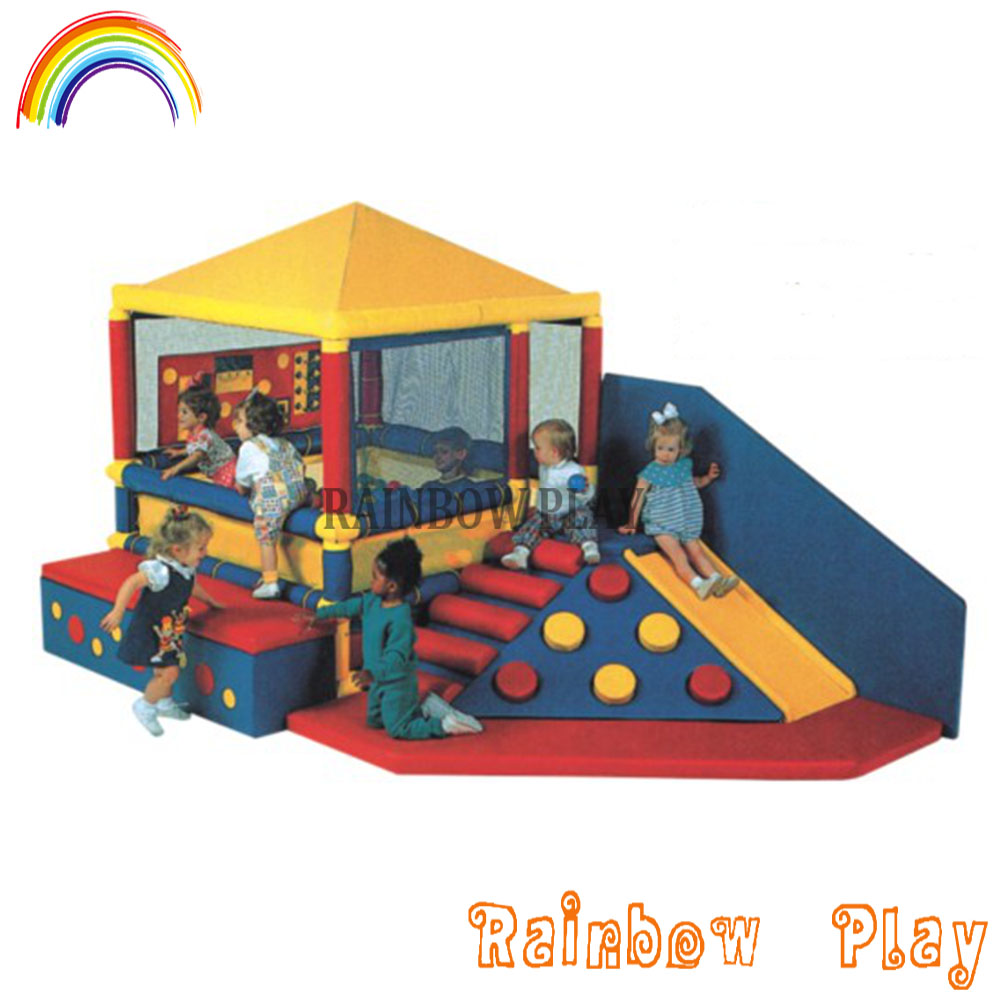 Kids play soft castle climbing play ball pool combine with slide children indoor soft playground equipment