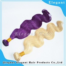 Ali trading 5A virgin peruvian hair no tangle body wave purple remy human hair weave