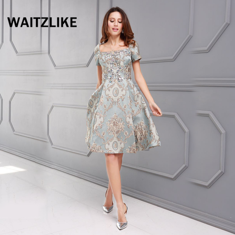 WAITZLIKE High quality beaded luxury women cocktail dresses party dresses