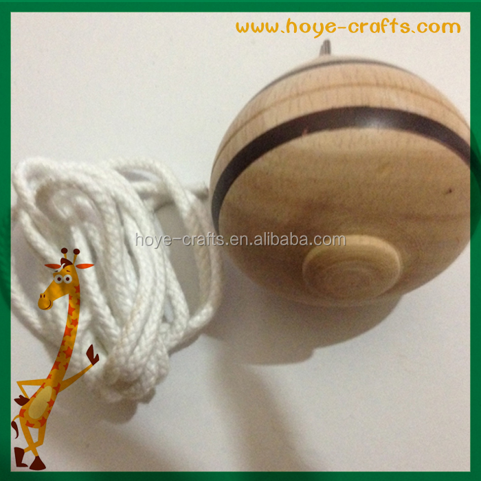 promotional gifts wooden pulling string spinning top