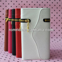 For apple iphone 5 5G new design high quality leather flip zipper wallet purse flip case with card slots handbag