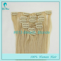"Top Quality Clip in Hair 7pcs/set Color #613 Wholesale Silky Straight Clip in Hair 15""-20"" 100% Remy Human Hair Extensions"
