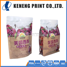 OEM High Quality Matt & Transparent Flat Bottom & Stand up Snack Packaging Bag with Zipper & Window for Prunes