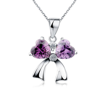 Girl Accessories Handmade Jewelry Silver and Gold Plated With Red/Purple/White CZ Pendant Bowknot Necklace Trendy Jewelry