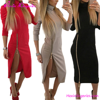 Cheap Long Sleeves High Neck Side Zipper Fancy Party One Piece Latest Designs Fashion Bandage Dress