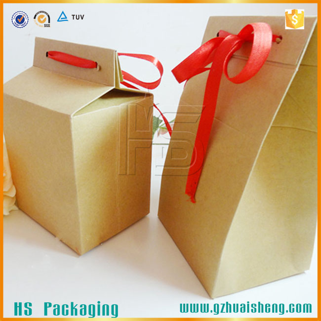 Customized colorful Recycle food bag craft paper treat bag Stripe candy paper bag
