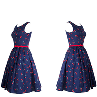 100% cotton cherry print vintage dress evening dress prom dress