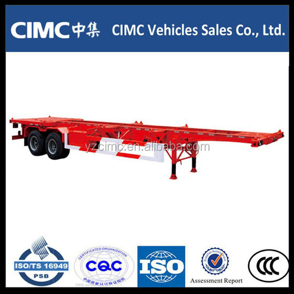 Chinese truck and trailer dimension 2 axle 20ft skeletal semi trailer for sale