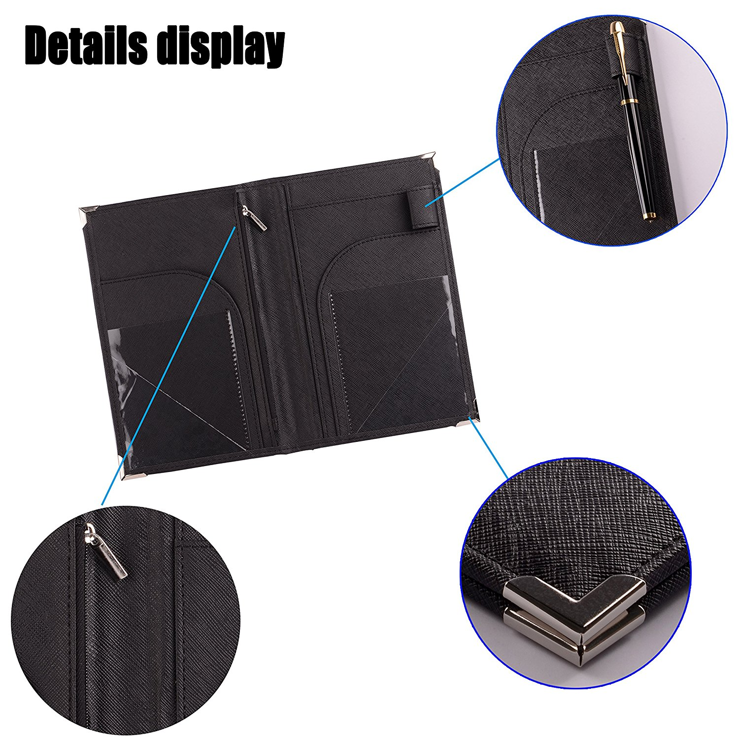 5.2''*8'' High grade Leather Hotel Servers Book ,Server Waiter Book Organizer Restaurant