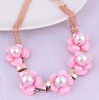 custom chunky flowers imitation plastic pearls bead necklace designs
