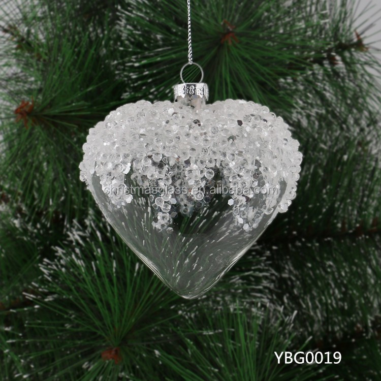 Hot sale murano glass christmas tree decor,Heart-shaped glass ball wholesale