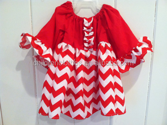 New Model Kids Chevron Christmas Party Wear Long Sleeve Baby Dress