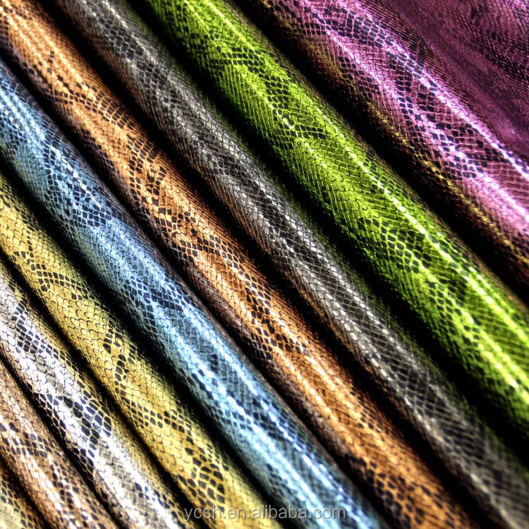 embossing pu leather snake skin fabric in 100% polyester fabric for shoes handbags