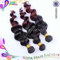 Top quality wholesale brazilian body wave two tone ombre hair weft