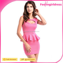 Hexin High Quality Sexy Pink Open Front Bodycon Fashion Ladies Peplum Dress