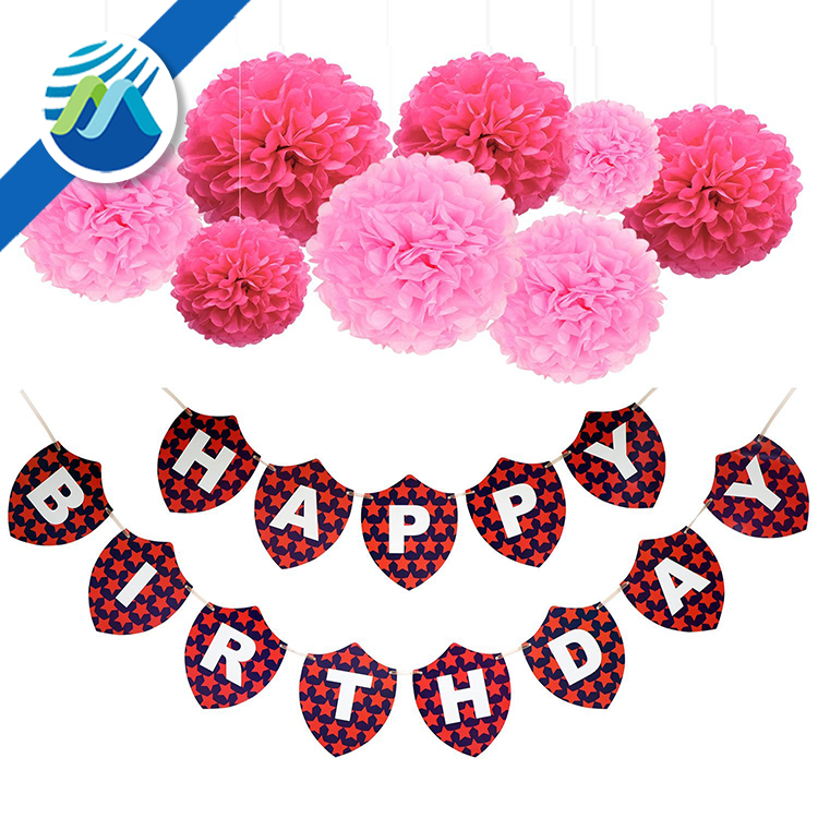Happy Birthday Banners 13 Flags Bunting Kit with 8 Pieces Paper Pom Poms Flowers for Birthday Party Decoration