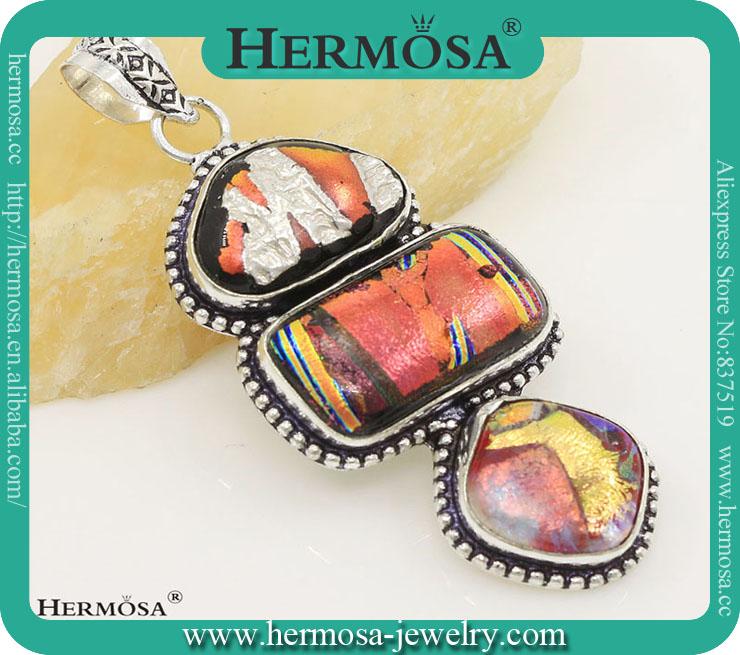 Hermosa 2015 Whosale Red Vintage Dichroic Glass Coloured Glaze 925 Sterling Silver Rainbow pendant
