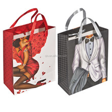 Promotional full color picture printing recycled paper Shopping grocery garment Tote Bag BAG090