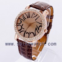 Abstract big numbers fake diamond leather band ladies minimalist watches